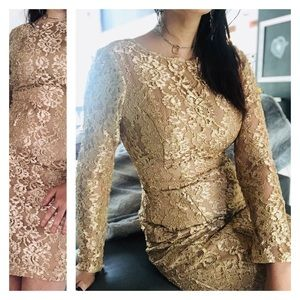 Vintage Gold Lace Overlay Nude cocktail dress